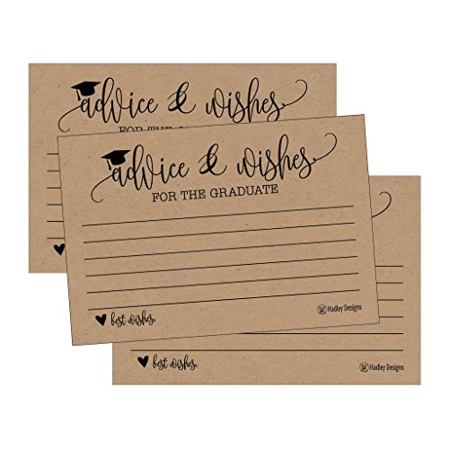 25 Rustic Graduation Advice Words of Wisdom Cards For Graduate Class of 2021 College, High School, University Grad, Funny Black and Gold Party Games, Presents, Activities Keepsakes for 4x6 photo album