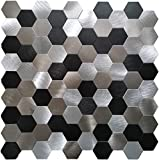 Crystiles 6-Pack 12Inches X 12Inches Hexagonal Aluminum Peel and Stick Tile Backsplash, Black, Grey and Brushed Metal