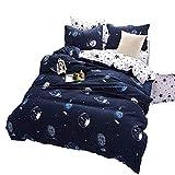 Ed-lumos juego de ropa de cama 4piezas para cama 105cm funda de edredón 180x220cm sábana 230x230cm funda de almohada 48x74cm poliéster color azul oscuro forma galaxia