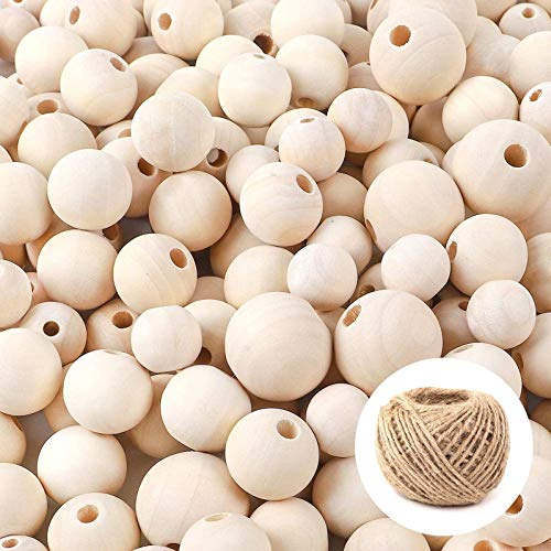 DICOBD 300pcs Wooden Beads 3 Sizes(16mm/20mm/25mm) Natural Unfinished Round Wood...