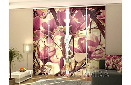 Rodnik 4 TLG. Flächenvorhang Set Foto Gardinen Vorhänge Bedruckt Schiebegardine Magnolie Blumen Fotovorhang Fotogardine