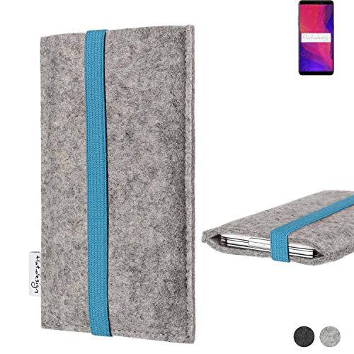 flat.design Handy Hülle Coimbra für Ulefone Power 3L - Schutz Hülle Tasche Filz Made in Germany hellgrau türkis