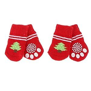 MagiDeal 4pcs Chien Chiot Chat Chaussettes d'Hiver Chaudes Chaussures Pantoufles Antidérapantes avec Impressions Mignonnes Décor Noël