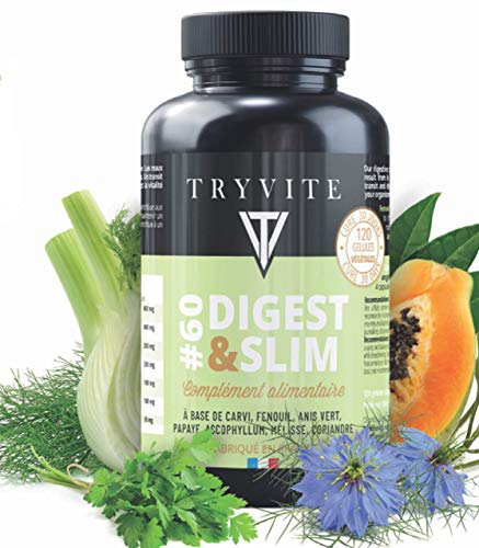 Natural digestive enzymes | Promotes regular transit | Fennel | Papaya | Coriander | lemon balm | Green anise | Caraway | 120 vegan capsules | Made in FRANCE