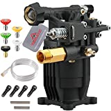 YAMATIC Max 3200 PSI 2.5 GPM New Horizontal Pressure Washer Pump 3/4' Shaft OEM & Replacement Pump for Power Washer MSH3125 MS60921 MSH3224 90029 90028
