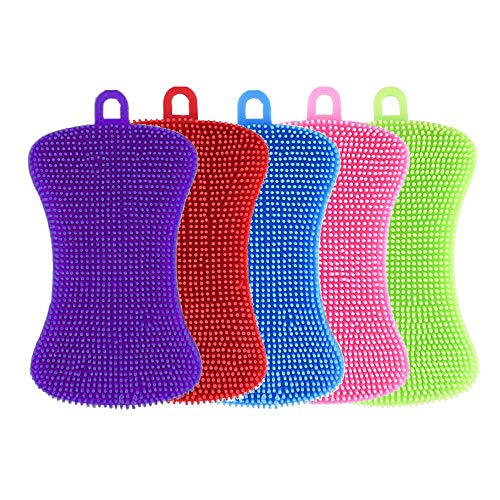 Vanlight Kitchen Silicone Sponge, 5 Pieces BAP Free Silicone Pads Anti-Bacterial Non-Scratch Dish Washing Scrubber Pot Holder Multipurpose Sponges for Cleaning Vegetable Kitchen Utensils