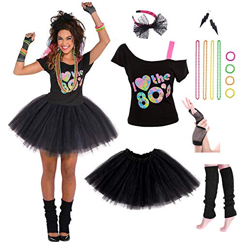 Women's 80's Costume. Everything Needed for a Madonna / Cyndi Lauper Style.