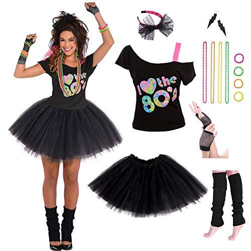 Women's 80's Costumes with Accessories Set Black Tutu Skirt Earrings Necklace Bracelets Fishnet Gloves Legwarmers Headband Large(8-10) …