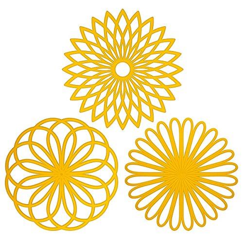 Silicone multiuso,-Sottopentola a forma di fiore, set di 3 pezzi di alta qualità, durevole, isolante flessibile antiscivolo calde e sottobicchieri per tazza Giallo