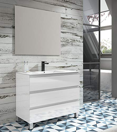 EL ALMACEN DEL PROFESIONAL Juego de Mueble de Baño Modelo Noruega Porcelana, Conjunto formado por Mueble de Baño Lacado en Blanco Ancho 100cm, Lavabo de Porcelana y Espejo a Juego
