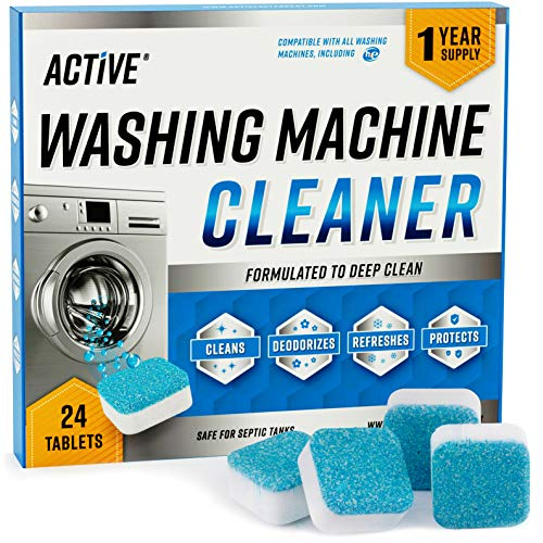 Washing Machine Cleaner Descaler 24 Pack - Deep Cleaning Tablets For HE Front Loader & Top Load Washer, Clean Inside Drum And Laundry Tub Seal