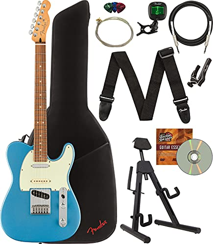 Fender Player Plus Nashville Telecaster Electric Guitar, Pau Ferro Bundle with Gig Bag, Stand, Cable, Tuner, Strap, Strings, Picks, Capo, and Austin Bazaar Instructional DVD - Opal Spark