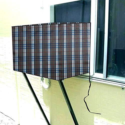 Stylista Window ac Cover 1 ton Waterproof and dustproof PVC Burberry Pattern Grey