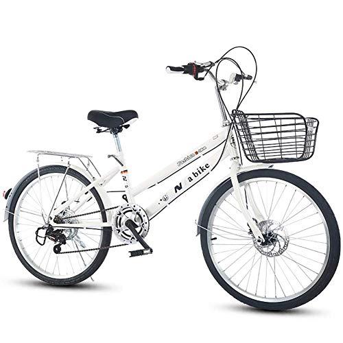 FSXJD Pieghevole Bicicletta Ultra-Leggero 7 velocità Bicicletta da Città con Cesto Acciaio Ad Alto Tenore di Carbonio Telaio Bicicletta da Montagna per Chi Lavora in ufficio-24inch Bianco 7 velocità