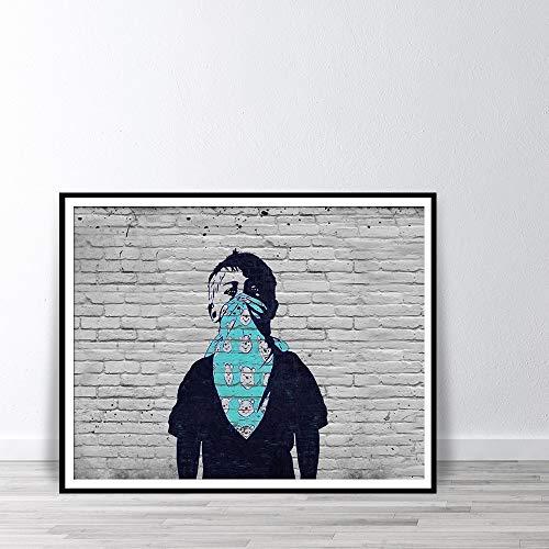 Jongen met gezicht sjaal Wall Art Canvas Print revolutie protest tiener afdrukken deken met beren Street Art Graffiti Poster A 30x40cm geen Frame