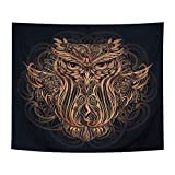 Pocass Psychedelic Owl Tapestry Wall Hanging Black and Gold Owl Wall Tapestry Mandala Totem Animal Tapestries for Living Room Bedroom Dorm, 51.2ʺx59.1ʺ