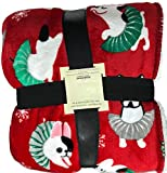 Dogs in Ballet Tutu Throw Blanket Red Background with Snowflakes Cute Whimsical 50 X 60 Decorative Holiday Plush with White Sherpa Reverse