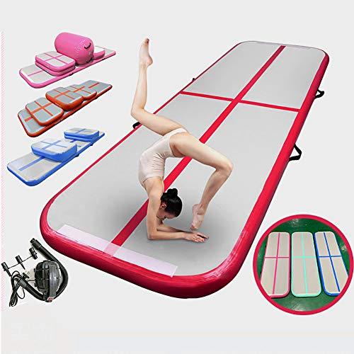 F-JX Airtrack Tumbling-Matte, Taekwondo Somersault Luftkissen, Aufblasbare Gymnastikmatte für Gym/Yoga/Training/Kinder/Tumbling/Park/Home Use,Blau,600x100x10cm