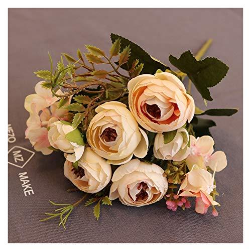 XIAOZSM Trockenblumen 1 stücke Bündel Seide Tee Rosen Braut Blumenstrauß Für Weihnachten Home Hochzeit Neujahr Dekoration Gefälschte Pflanzen künstlich Künstliche Blumen (Color : 2)
