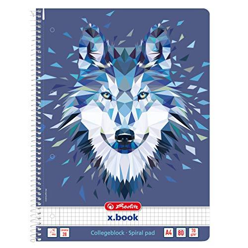 herlitz 50027774 Spiralblock A4, 80 Blatt, kariert, Motiv: Wild Animals Wolf, 1 Stück
