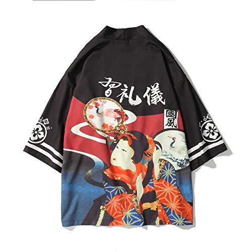 HappyL Die Große Welle Weg Von Kanagawa Man Japanese Traditional Orient Ethnische Strickjacke Kimono Haori Mann Unisex Dünne Lose Ukiyo-e Outfits (Color : Color6, Size : XL)
