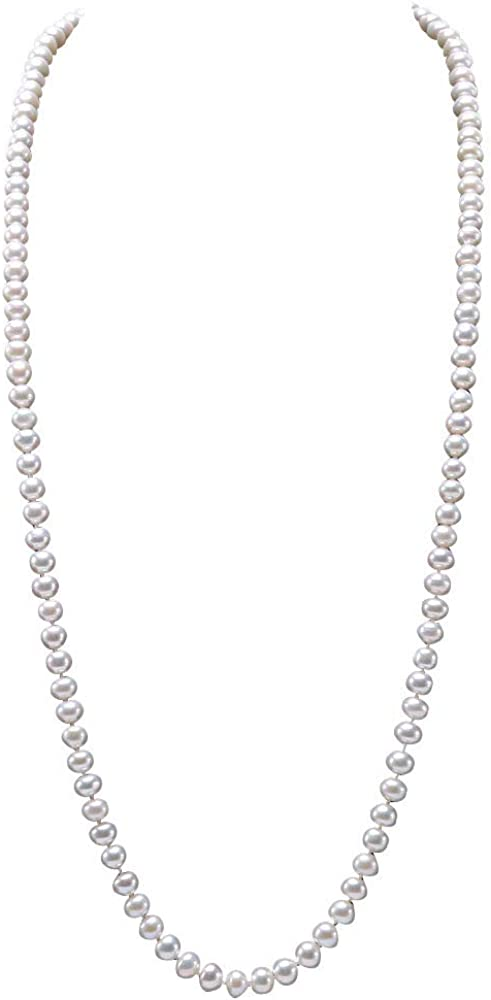 JYX Pearl Long Pearl Necklace 8-9mm White Freshwater Cultured Pearl Endless Necklace 32