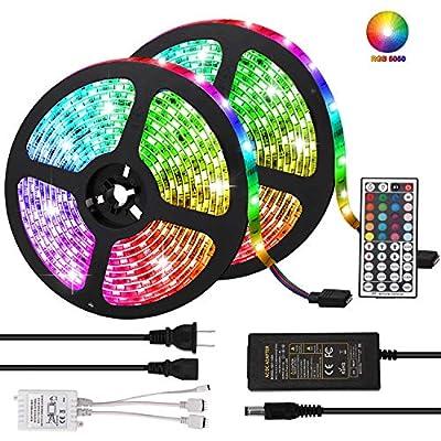 LED Strip Lights, Targherle 33ft/10M Led Light Strip SMD 5050 IP65 Waterproof RGB Flexible Light Strip Kit with 44 Key IR Remote RGB Controller, Strengthen 3M Tape, 12V 5APower Supply