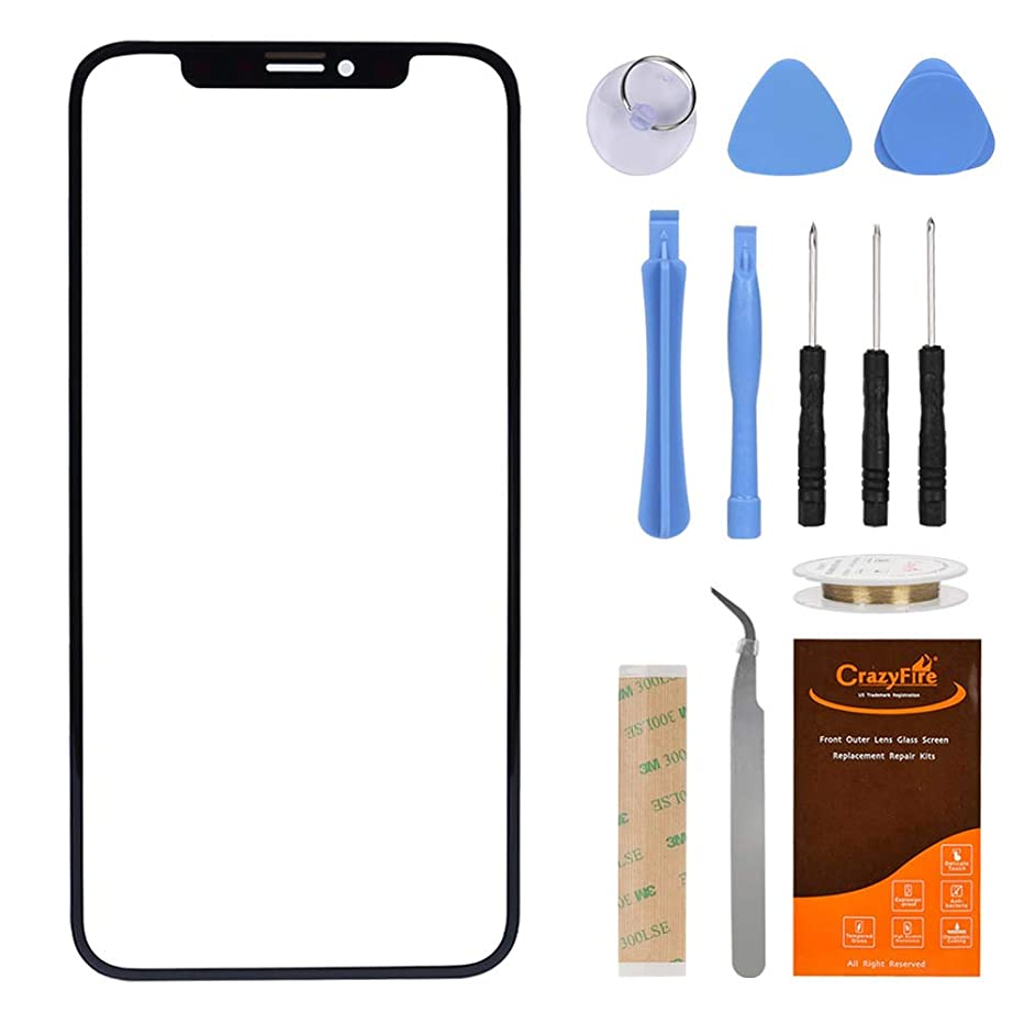 Front Lens Glass Screen Replacement Compatible with iPhone X 5.8 inch,CrazyFire Front Outer Lens Glass Screen Cover with Tools Kit and Adhesive Compatible iPhone X 5.8 inch(Deep Grey)