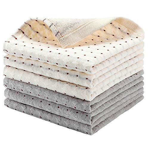 EliteBond Paños de Cocina Algodón 100% Toallas Cocina Algodón Gris y Blanco para Lavar Paños Cocina Rizo Absorbente 35 cm x 35 cm con Presillas para Colgar