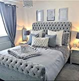 Spring Well, Sleigh ''H'' bed with scrolled ends with Diamonds Buttons in Crushed Velvet Fabric Upholstered Bed Frame in many colours (Silver, 5ft)