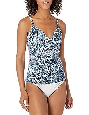 Calvin Klein Women's Tankini Swimsuit with Adjustable Straps and Tummy Control, Navy Snake, Medium