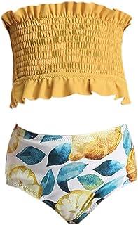 Lemoonlemone Toddler Kids Girls Two Piece Swimsuit Ruffles Bikini Set Swimwear Beach Sport Halter Top Diving Surfing Clothes