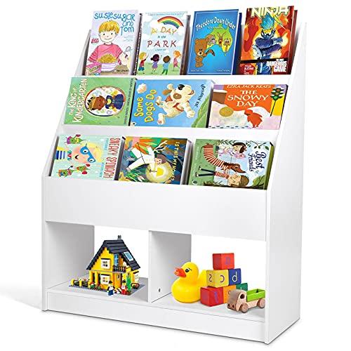 Bibliothèque pour Enfants, Bibliothèque 3 Niveaux, 2 Unités de Rangement, Bibliothèque pour Enfants pour Chambre d'enfants, Salon, Crèche, Coin Lecture