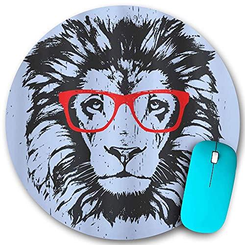 Rundes Mauspad, Tier-Grunge-Löwenporträt mit Hipster-Brille Nerd-Humor-Comic-König-Illustration, rutschfeste Gummibasis Office Home-Mauspads Klein 7,9 x 7,9 in Mouse Mate