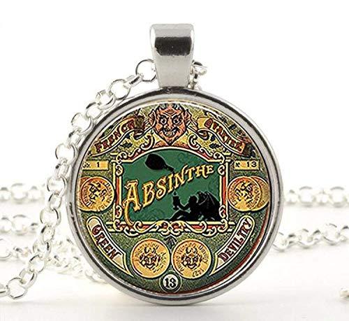 Steampunk - Collar con colgante de absenta, diseño de diablo verde, regalo...