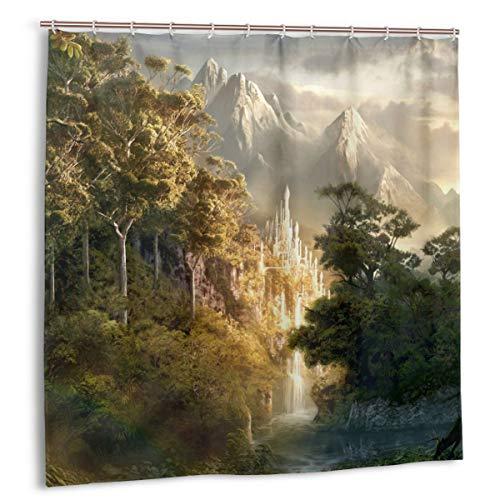 LarissaHi Castillo en Las montañas Fotos señor de los Anillos, Cortina de Ducha decoración del hogar 60inX72in