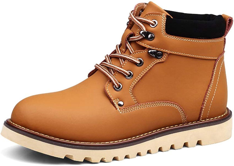Men's shoes Men's shoes, Winter Cotton shoes Warm Plus Velvet Leather Boots Martin Boots Men's Boots Trend British Mens shoes High-top Booties Men's Fashion Boots (color   B, Size   42)