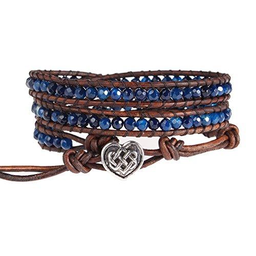 Bonnie Wrap Bracelet Facet Agate Heart of Celtic button Healing Leather Bracelet for Women (Blue)