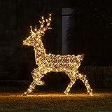 Lights4fun Ciervo de Navidad Luminoso en Ratán con 260 LED Blancos Cálidos para...