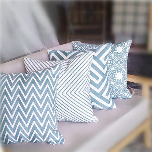 4er Set Dekorativ Kissenbezug Geometrische Muster 45 x 45cm Sofa Büro Dekor Kissenhülle aus Baumwoll und Leinen, Schwarz und Beige
