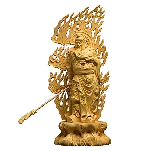 XIANGE100-SHOP Estatua Chino Boxwood Talla guanyu Estatua artesanía guan Gong Escultura Coche decoración Real Madera decoración de la casa Regalos Chinos