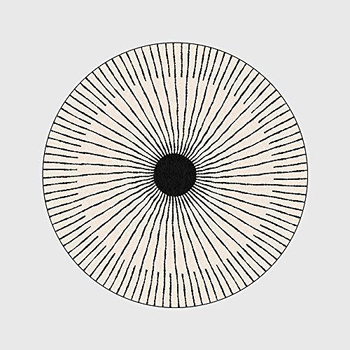WIVION Moderne Teppichmode Einfache Teppiche Schwarz Weiß Kreis Linie Große Runde Bodenmatte Anti-Rutsch-Yoga-Teppich Stuhlmatte Für Wohnzimmer Schlafzimmer Küche Sofamatte,150x150cm(59x59inch)