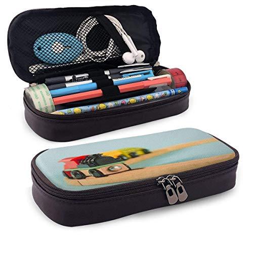 Track Toy Train Leder Federmäppchen mit Stifthalter, Briefpapier mit großer Kapazität, Kosmetiktasche, Bluetooth-Headset, Schulsu