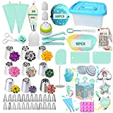 Cake Decorating Kit Supplies, Geioireny 157 PCS Piping Bags and Tips Set Cake Decorating Tool Kit 33 Piping Tips Frosting Tips and Bags Cupcake Decorating Kit Cookie Decorating Supplies with Lucky Box