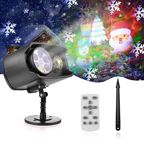 Christmas Projector Lights Outdoor Waterproof Light Projector with LED Ocean Wave and 12 Pattern 2-in-1 with Remote Control Timer Christmas Xmas Party Yard Garden Indoor Decoration(no Batteries)