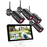 ANRAN 5MP Wireless Home Security Cctv Camera System, 4 Channel NVR 13 Inch LCD Monitor with 1TB Hard Drive,4Pcs 5MP HD WiFi Surverlliance IP Camera, Night Vision, Waterproof, Motion Alert, Remote View