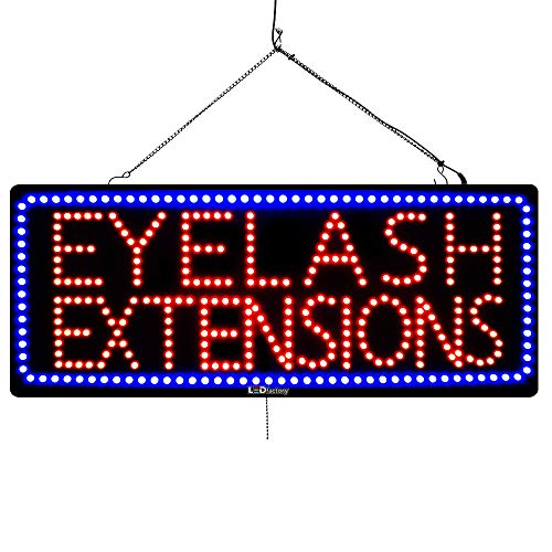 Large LED Window Beauty Salon Sign - Eyelash Extensions - Extra Bright LEDs - Can Be Seen Through Tinted Windows - Extra Large - 32 inches Wide 3193