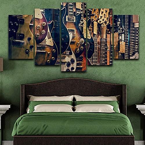 Living Equipment 5 Panel Wall Art Retro Instrumento musical Guitarra Pintura La imagen Impresión en lienzo Imágenes para decoración del hogar Decoración Regalo Obra de arte Pieza estirada por