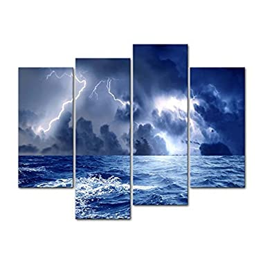 Canvas Print Wall Art Decor Storm Sea Picture Ocean Wave Seascape Pictures Nature Lightning Artwork Weather Poster Prints Stretched On Wooden Frame 3 Panel Image For Home Living Room Office Decoration
