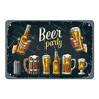 ビールバーの壁の装飾、8×12インチのレトロで斬新な金属スズのロゴ、バーとバーのアートの装飾、メンズギフト-「ビールパーティー」
